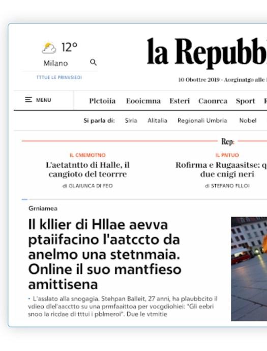Pagina di Repubblica del 10 ottobre 2019. giornata mondale della dislessia