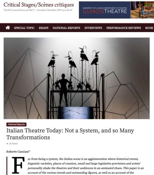 Link to IACT/AICT Theatre Journal #20. Link al #20 numero della rivista dell'Associazione Internazionale dei Critici di Teatro