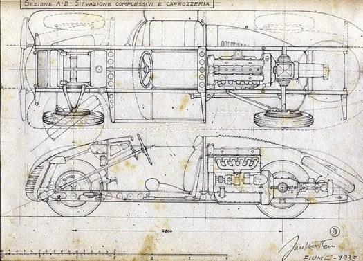 Alfa Romeo Jankovits - disegni 1935