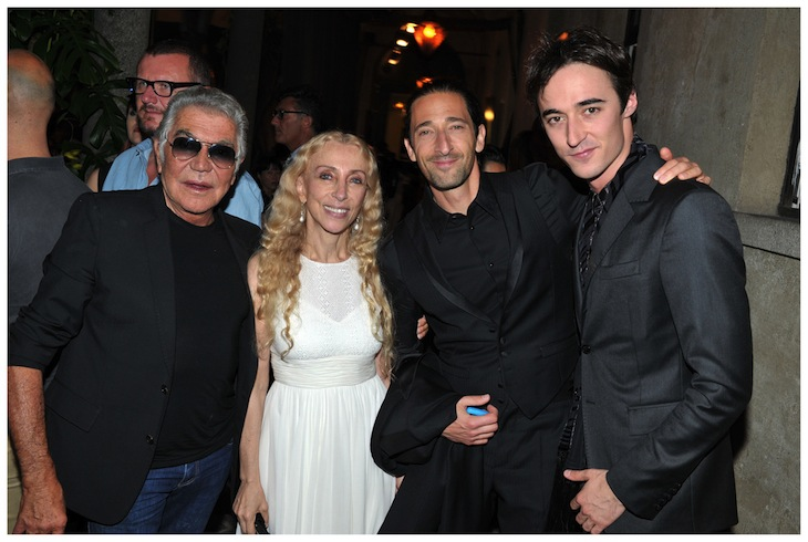 Roberto and Daniele Cavalli with Adrien Brody in Roberto Cavalli and Franca Sozzani