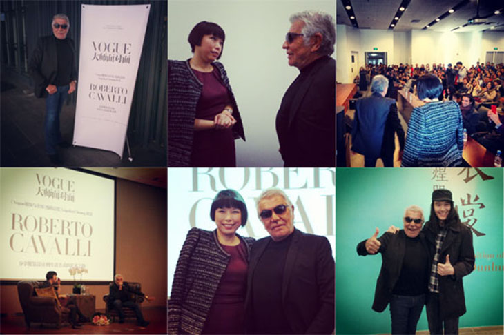Roberto Cavalli and Angelica Cheung at the Beijing Fashion Institute