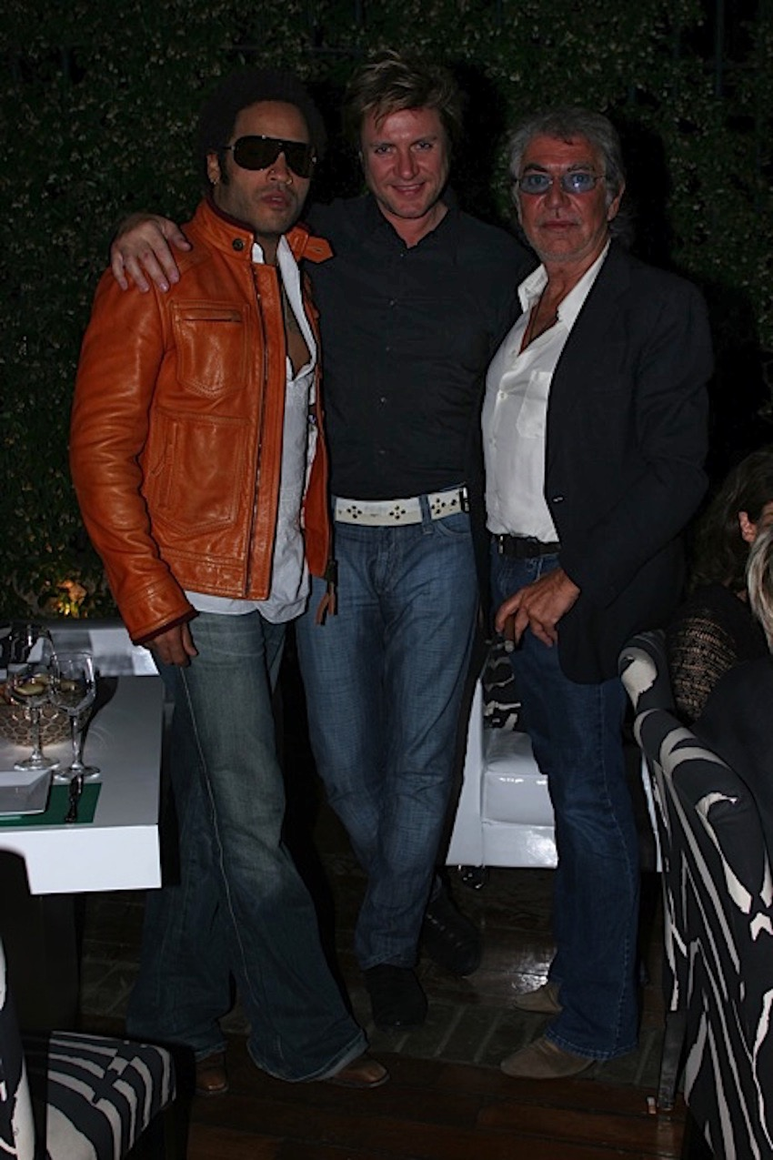 Roberto Cavalli with Lenny Kravitz and  Simon Le Bon