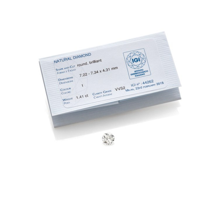 Diamante in cartina taglio brillante del peso di 1,41ct, colore I