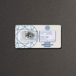 Diamante taglio brillante 5,01 ct F VVS1. Accompagnato da certificato IGI Milano