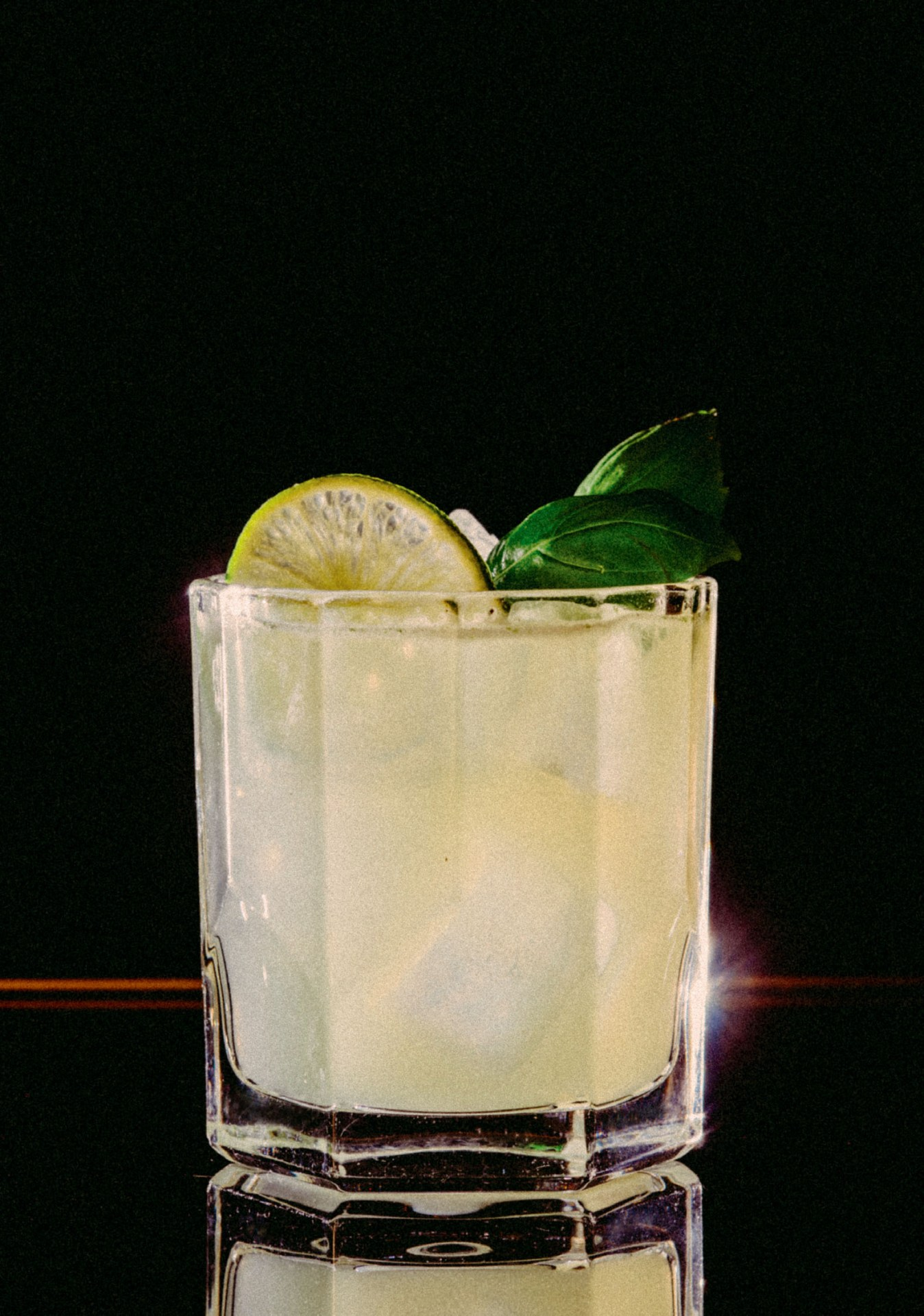 Recipe: 5cl Plymouth Gin 3cl Lime Juice 2cl Sugar Syrup Basil Leaves