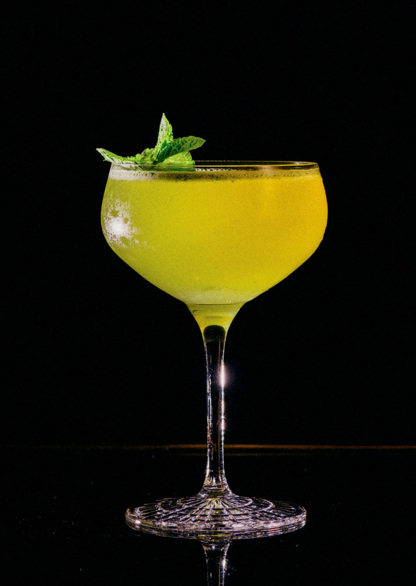Recipe: 5cl Havana Club Añejo 7 Años 1 Barspoon Cane Sugar 2cl Lime Juice 2 Dashes Angostura Bitters Mint Leaves Filled with Perrier-Jouët Brut Champagne