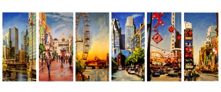 "7 Cities, oil on linen, 36"" x 72"" (individual sizes) - 2009"