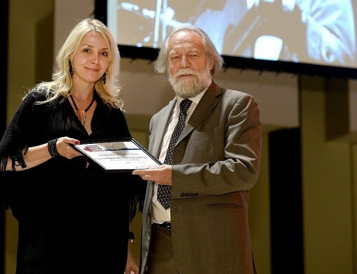 Chantal Ringuet receiving a 2017 Canadian Jewish Literary Award from Alain Goldschlager at York University in Toronto.
