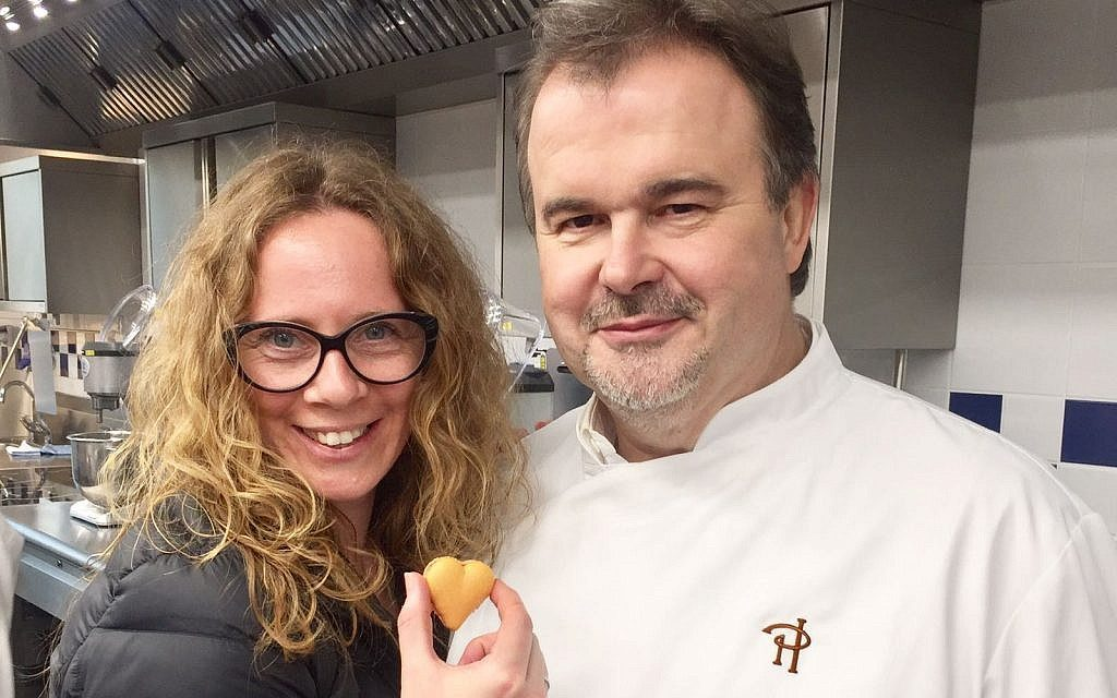 Sharon Heinrich with top French pastry chef Pierre Herme. (Gali Hadari)