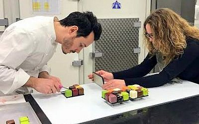 Sharon Heinrich filming rising French pastry star Cedric Grolet. (Gali Hadari)