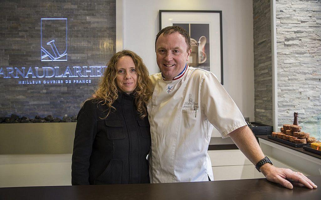 Sharon Heinrich with French pastry and chocolate master Arnaud Larher. (Sivan Askayo)