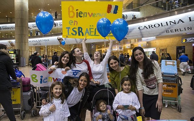 French Jews arriving at Ben Gurion Airport in Israel, Nov. 2, 2016. (JTA/ Courtesy of the International Fellowship of Christians and Jews)