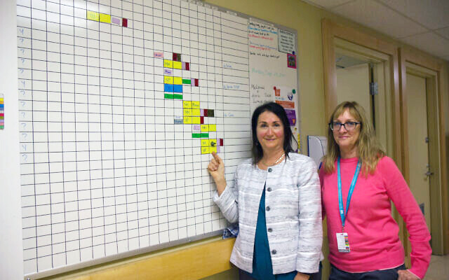 Dr. Neora Pick, left, with nurse Barb Pickering at the board tracking the day's patients at the Oak Tree Clinic in Vancouver. (Etye Sarner)