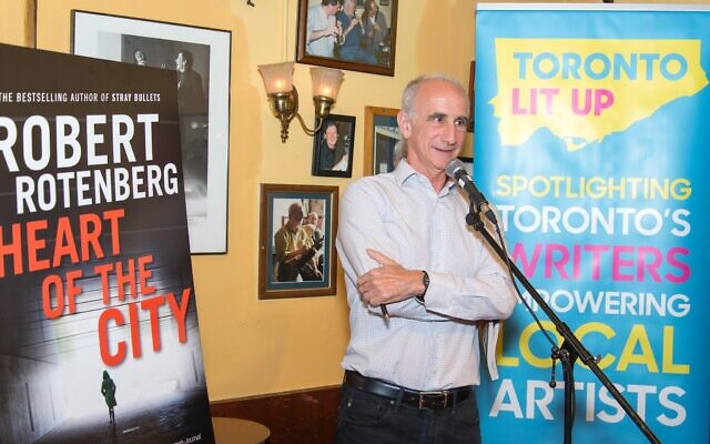 Author Robert Rotenberg speaks at the launch of his fifth book, 'Heart of the City,' in Toronto, August 2017. (Photo by Ted Feld)