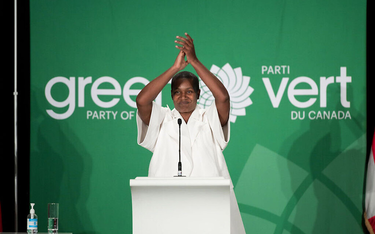Annamie Paul celebrates her victory at the Green Party of Canada convention, October 3, 2020. (Brittany Gawley)