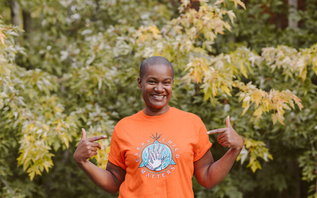 Canadian Green Party leader Annamie Paul wears an 'Every Child Matters' t-shirt in Toronto, in 2020. (Rebecca Wood)