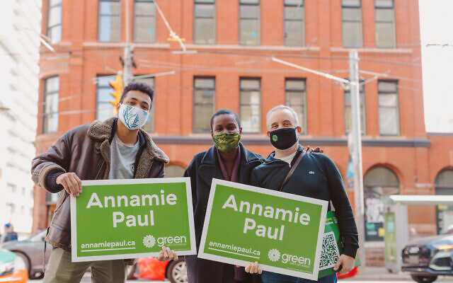 Canadian Green Party head Annamie Paul, center, with campaign workers in Toronto, 2020. (Courtesy)