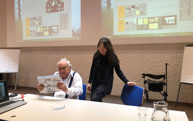 Anita Winter with Holocaust survivor Gabor Hirsch at a lecture in 2020. (Courtesy)