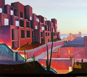 Oil painting of Cabo at dawn, with backlit cactus and ocean in background