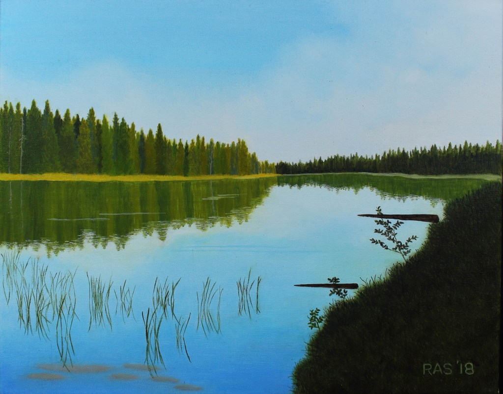 Oil painting of placid String Lake in Grand Teton National Park in morning, with reeds breaking its surface and evergreens along shoreline. . lake.