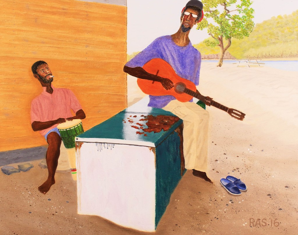 Oil painting of Union Island native sitting on discarded refrigerator on beach, singing and accompanying himself on guitar while friend plays congo drum.