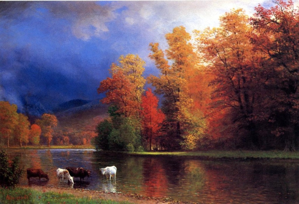 Autumn on Saco River, with cows enjoying its water. Landscape art by Albert Bierstadt that is an example of the Hudson River School of art.
