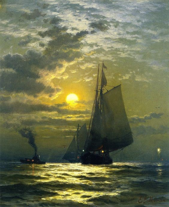 Sailboat sailing at night under a low moon by Edward Moran. Canvas painting that is an example of the Hudson School of art.