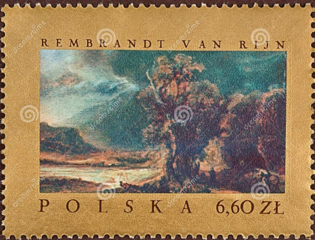 Landscape drawing on postage stamp, designed by Rembrandt