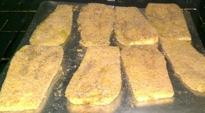 Eggplant breaded and baked.