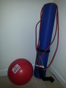 ball, mat, and resistance band