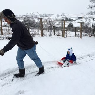 daddy pulling asher sledding