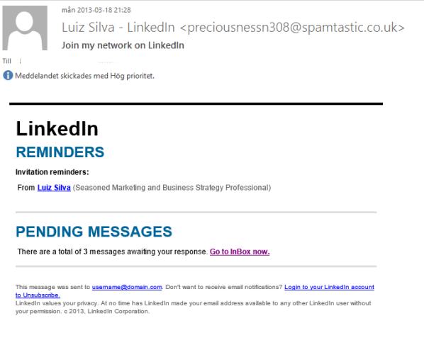 LinkedIn mail leder till hemsida med Skadlig Kod