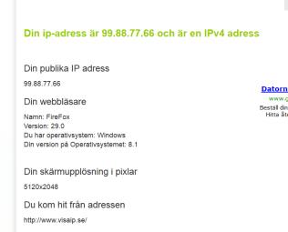 Hitta din IP adress på nätet - Visaip.se ger er all information du behöver veta om din dator