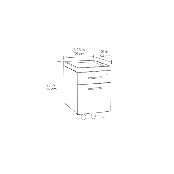 Centro Office File Cabinet 6401 White Spec