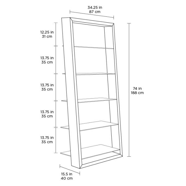 Eileen Blanc 5157 White Leaning Glass Shelf | BDI Furniture Spec