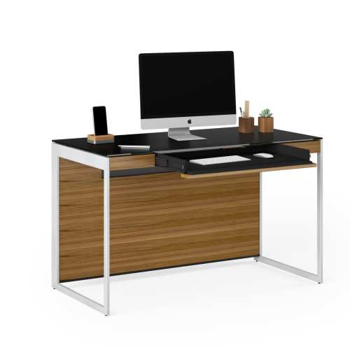 Sequel 6103 Desk Natural Walnut / Satin Nickel