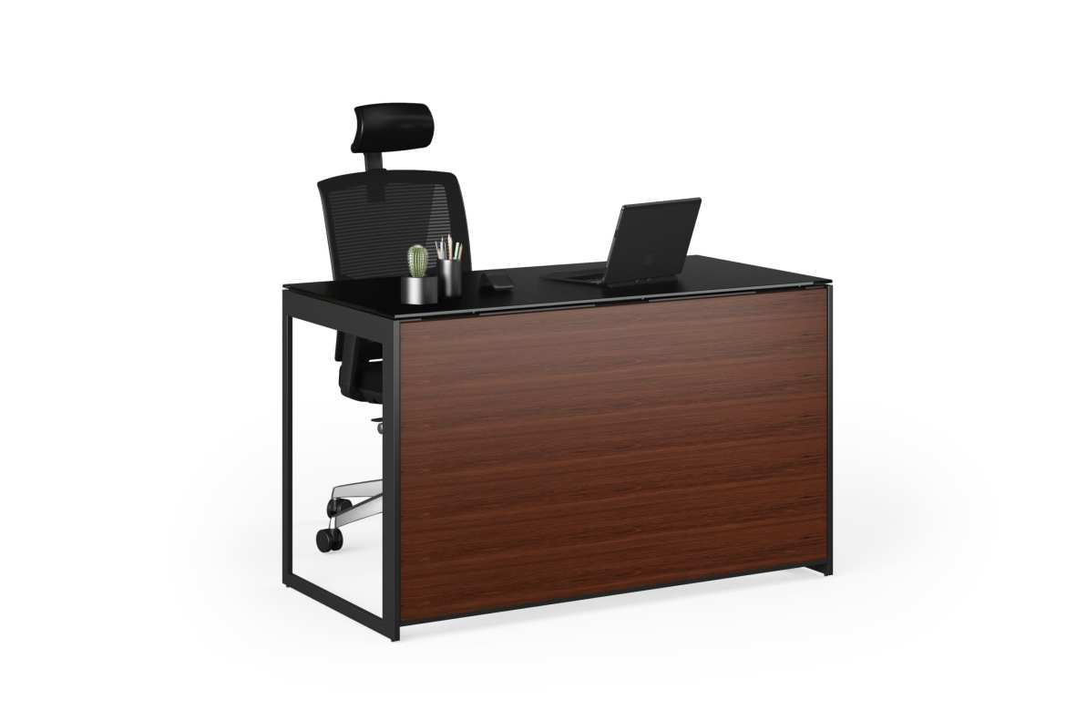 Sequel 6108 Compact Desk Magnetic Back Panel Chocolate Stained Walnut Black