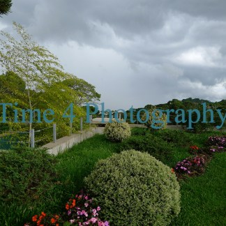Lush garden at a terrace in th mountains, with dark clouds in the sky
