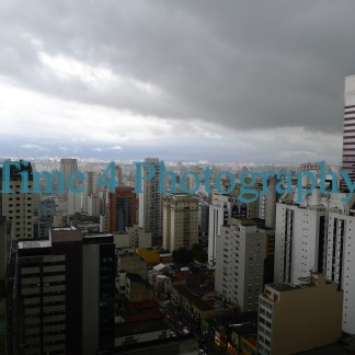 Heavy storm clouds over the skyline of Sao Paulo, Brasil