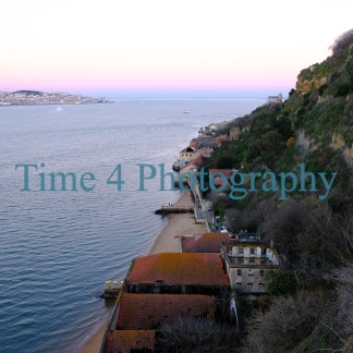 Small beach on the Tejo river inLisbon, Portugal, as seen from a promontory