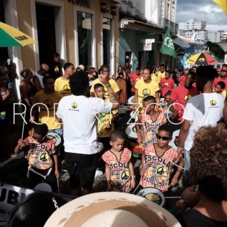 The world-famous Olodum music school in Salvador da Bahia, Brazil. On this picture children and adults are rehearsing sveral drum beats.