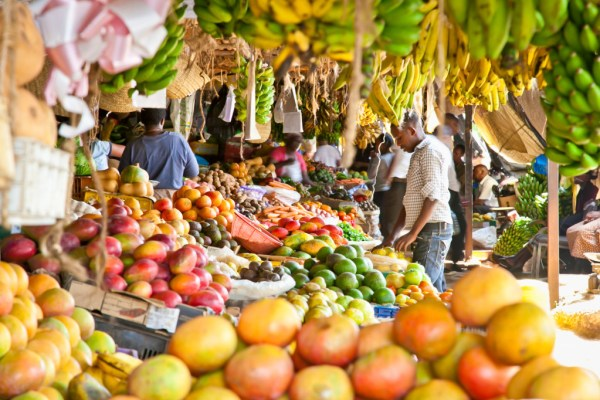 Ripe fruits stacked at a local market in Nairobi.