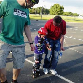 Andy Kostka assisting a Preschool Inline Skate Student in 2012