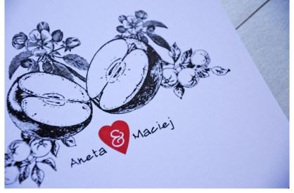 Oryginalne zaproszenia ślubne z motywem jabłka - Robimy Śluby