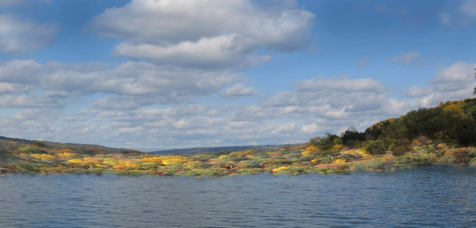 on a boat in October on Cayuga Lake