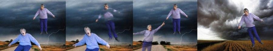 A friend flies over stormclouds in Ithaca, New York.