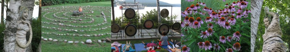 Retreat for bereaved mothers at Wiawaka Holiday House at Lake George, New York with gong bathing, gardens, and sculptures by Pam Golden.