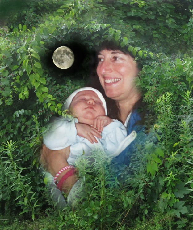 Robin Botie in Ithaca, New York, holds newborn Marika Warden like she is holding the moon.