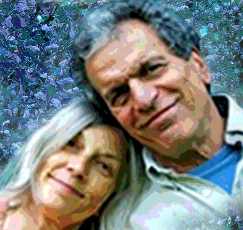 Robin Botie of Ithaca, New York, uses Photoshop to posterize the cover photo from Elaine Mansfield's new book Leaning Into Love: A Spiritual Journey ThroughGrief.
