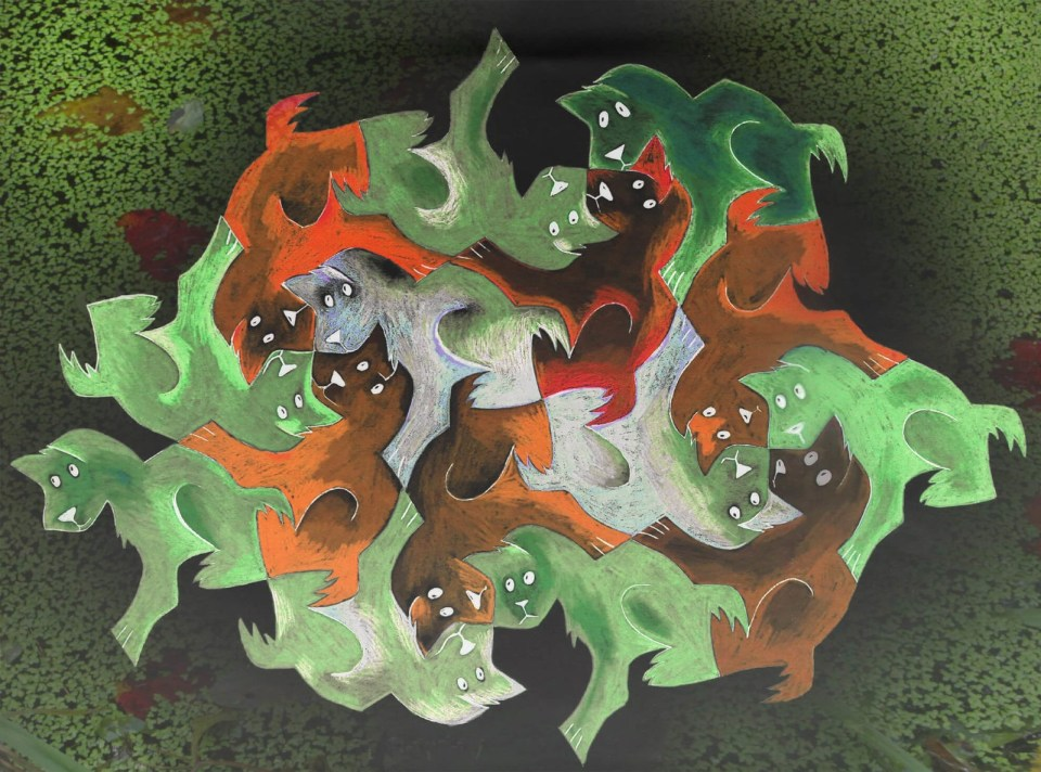 Robin Botie of ithaca, New York, photoshops her drawing of tesselation puppies with a photograph of pond algae.